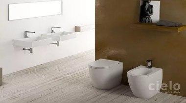 Smile by Cielo - Smile by Cielo - bathroom, bathroom sink, bidet, ceramic, floor, plumbing fixture, product, product design, sink, tap, tile, toilet, toilet seat, wall, white, brown