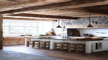 When Country met Industrial - Kitchen Design - beam, ceiling, floor, home, interior design, kitchen, living room, room, table, white