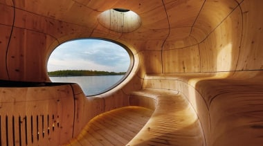 Perched on a rocky island, the Grotto Sauna architecture, interior design, lighting, wood, brown