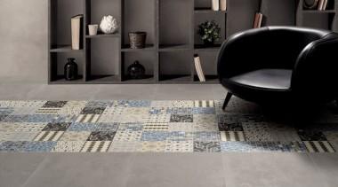 Matt finish, 200x200mm rectified porcelain. Suitable for interior floor, flooring, furniture, hardwood, interior design, living room, property, table, tile, wood flooring, gray, black