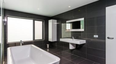 Winner Bathroom of the Year 2013 Tasmania - architecture, bathroom, floor, interior design, property, real estate, room, sink, tile, black, gray, white