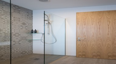 Bathroom - angle | bathroom | door | angle, bathroom, door, floor, glass, interior design, plumbing fixture, shower, wall, gray