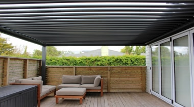 With the flexibility to open and close the daylighting, house, outdoor structure, pergola, real estate, roof, shade, gray, black