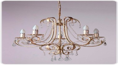 FeaturesCurved arms and gracefully scrolled leaf work draped chandelier, decor, light fixture, lighting, gray