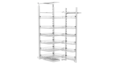 Giamo Tall Chef Larder with Wire Shelves Rear furniture, product, shelf, shelving, structure, white