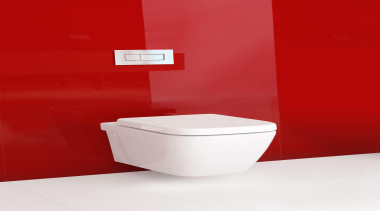 Caroma Cube Wall Hung Invisi II toilet suite: angle, bidet, ceramic, plumbing fixture, product, product design, red, tap, toilet, toilet seat, red, white
