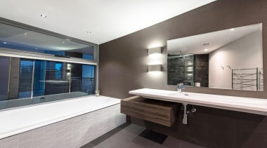 Winner Bathroom Design of the Year 2013 Tasmania architecture, bathroom, estate, interior design, property, real estate, room, white, gray