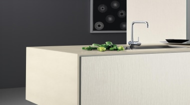 Laminex Solid Surface helps create inspirational interiors with desk, furniture, product design, sideboard, table, white, black