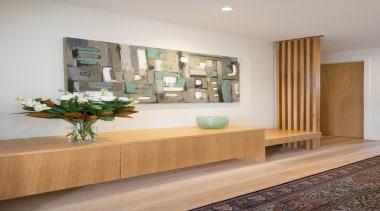 Entry Cabinetry - Entry Cabinetry - floor | floor, furniture, home, interior design, living room, shelf, shelving, table, wall, wood, gray