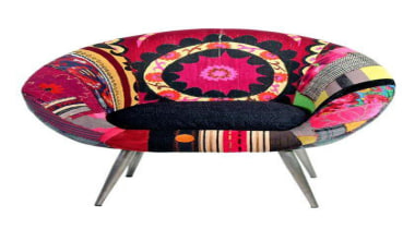 One-of-a-Kind Donut Chair at Gilt. Three thousand bucks! chair, furniture, magenta, product, table, white