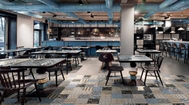 Cementina Evo Mix 200x200 - Cementina Evo Mix interior design, restaurant, gray, black