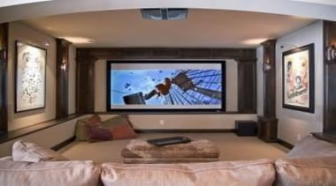 if you have a basement well this is ceiling, entertainment, flat panel display, home, interior design, living room, media, multimedia, property, room, television, gray, brown