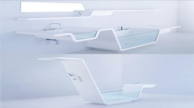Continuous lines create these unique bathroom wonders, where angle, furniture, product, product design, shelf, tap, white