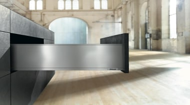 The new Legrabox drawer system from Blum boasts architecture, floor, furniture, interior design, table, gray, white
