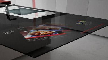 We just entered a whole other dimension – floor, flooring, furniture, glass, product design, table, black, gray