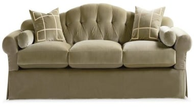 """""""Upholstery helps set the foundation for how a couch, furniture, loveseat, product, product design, brown, white"""