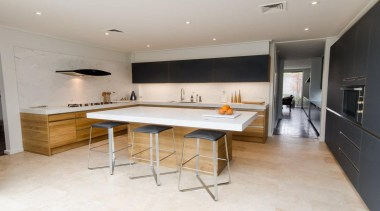 Natural Oak & Glass finish and Stainless Steel countertop, floor, interior design, kitchen, property, real estate, room, gray