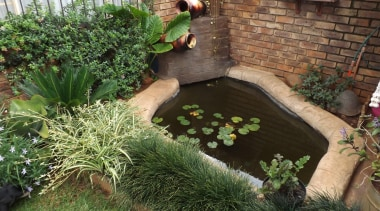 Decocrete 21 - Decocrete_21 - backyard   body backyard, body of water, garden, grass, herb, landscaping, outdoor structure, plant, pond, yard, brown, green