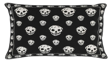 Instantly recognisable as a work of Alexander McQueen, black, black and white, cushion, design, font, monochrome, monochrome photography, pattern, product, textile, throw pillow, white, black, white