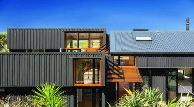 Makarori Beach House - V-Rib - Slate - architecture, elevation, facade, home, house, real estate, residential area, roof, siding