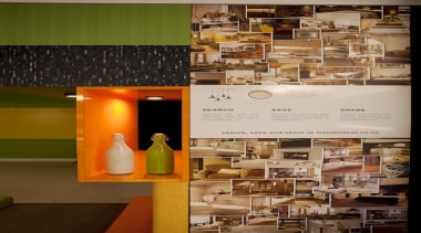 T2 conceptualised a poster to promote the Trends furniture, interior design, table, brown