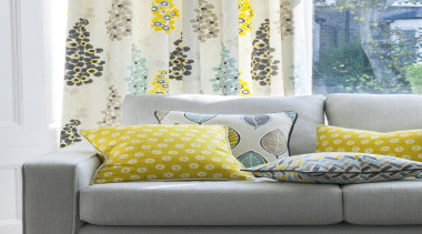 Harrisons Curtains - Harrisons Curtains - couch   couch, curtain, cushion, duvet cover, furniture, home, interior design, linens, living room, pattern, room, textile, wall, window, window covering, window treatment, yellow, white, gray
