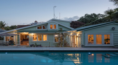 Architecture Smith + Scully cottage, estate, facade, farmhouse, home, house, mansion, property, real estate, reflection, roof, siding, swimming pool, villa, window, teal, gray