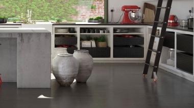 Tanova Ventilated Drawers in Kitchen Setting - Custom floor, flooring, furniture, tile, gray, black