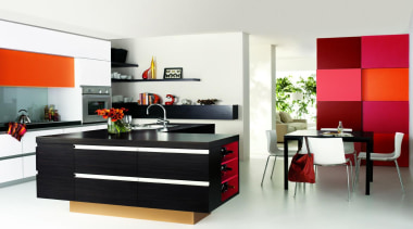 The orange, red and pink splashes of colour furniture, interior design, kitchen, product, product design, white