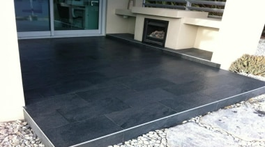 Stone D graphite exterior patio tiles - Stone asphalt, floor, flooring, property, tile, black, white, gray