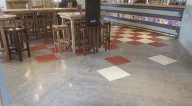 Micro Topping done at Toby Jugg Inn - chair, concrete, floor, flooring, furniture, hardwood, table, tile, wood, wood flooring, gray