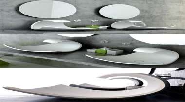 The 'Eaux Eaux', or 'Water Water' basins become furniture, plumbing fixture, product, product design, sink, table, tableware, tap, toilet seat, white, gray