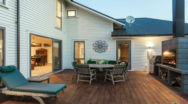 Envira Bevel Back Weatherboards - Two Storey Home backyard, deck, home, house, outdoor structure, patio, real estate, white
