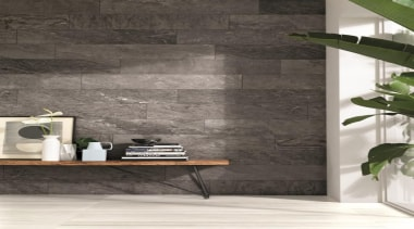 Striato White 450x900mm floor tile and Quartzite Grey floor, flooring, interior design, shelf, tap, tile, wall, wood, gray, black, white