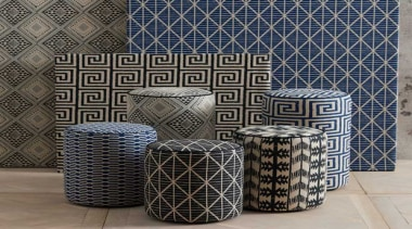 Exotic and eclectic yet effortlessly relaxed, ADITI is ceramic, pattern, wicker, gray, black