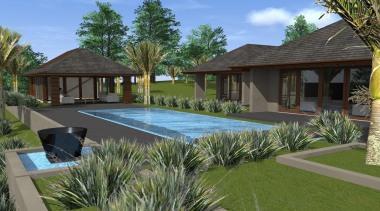 17 mds design 1 zhang - Mds Design arecales, backyard, cottage, estate, hacienda, home, house, leisure, palm tree, property, real estate, resort, swimming pool, villa, yard, brown