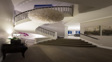 14 stairs after - Stairs After - architecture architecture, ceiling, daylighting, estate, floor, home, house, interior design, living room, room, stairs, gray, black