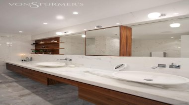 Downtown Penthouse Living - Downtown Penthouse Living - bathroom, countertop, floor, home, interior design, room, sink, tap, tile, gray