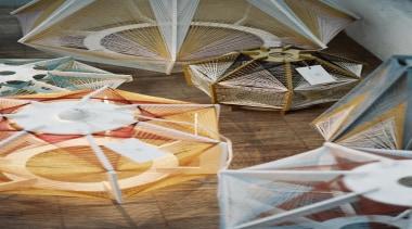 Julie Lansom has made these delightful Sputnik lamps textile, gray, brown