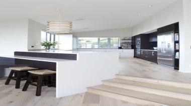 Elevated kitchen design by Yellowfox - Kitchen Interior architecture, countertop, floor, flooring, house, interior design, kitchen, table, wood flooring, gray, white