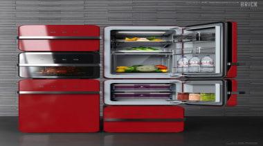 Red Smeg Fridge - Red Smeg - home home appliance, kitchen appliance, major appliance, product, product design, refrigerator, shelf, shelving, black, gray