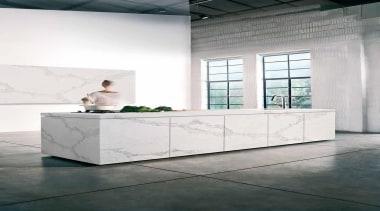 As Caesarstone's interpretation of natural Calacatta marble, Calacatta architecture, bathroom, floor, flooring, furniture, interior design, product design, table, white, gray