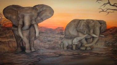 Dcocrete 44 - Dcocrete_44 - african elephant   african elephant, art, elephant, elephants and mammoths, fauna, indian elephant, mammal, organism, painting, savanna, terrestrial animal, tusk, wildlife, black