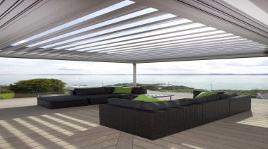 Deck covered with roller shade - Deck-Terrace - daylighting, interior design, outdoor structure, real estate, roof, shade, gray, white