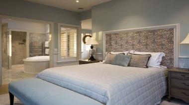 Master bedroom - Master bedroom - bed   bed, bed frame, bed sheet, bedroom, ceiling, estate, floor, home, interior design, mattress, real estate, room, suite, wall, window, gray