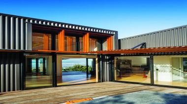 Makarori Beach House - V-Rib - Slate - architecture, facade, home, house, property, real estate, siding, window, wood