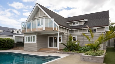 Exterior - cottage | elevation | estate | cottage, elevation, estate, facade, home, house, property, real estate, residential area, roof, siding, villa, window, white, gray