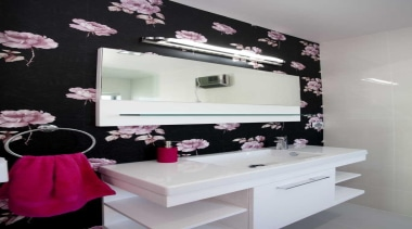 Bathroom with pink accent and a flower wallpaper bathroom, interior design, pink, purple, room, wall, gray, black