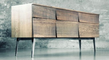 Designed by Scandinavian design company Soren Rose Studio, chest of drawers, furniture, sideboard, table, wood, wood stain, gray
