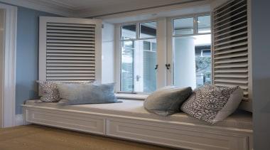 Window seat - Window seat - curtain   curtain, door, floor, furniture, home, interior design, living room, sash window, shade, window, window blind, window covering, window treatment, wood, gray